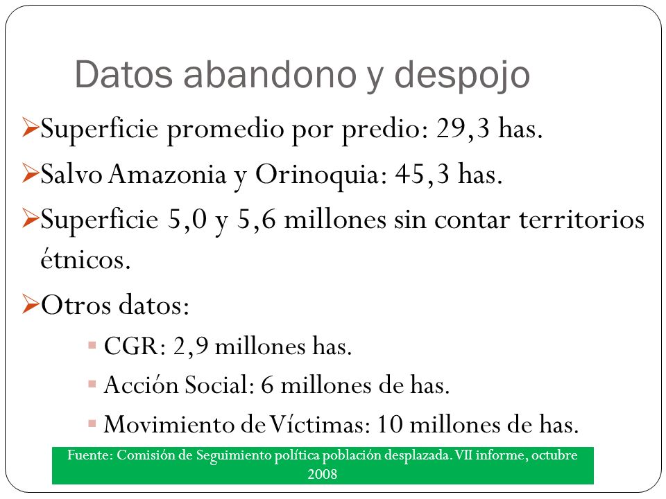 Datos abandono y despojo Superficie promedio por predio: 29,3 has.