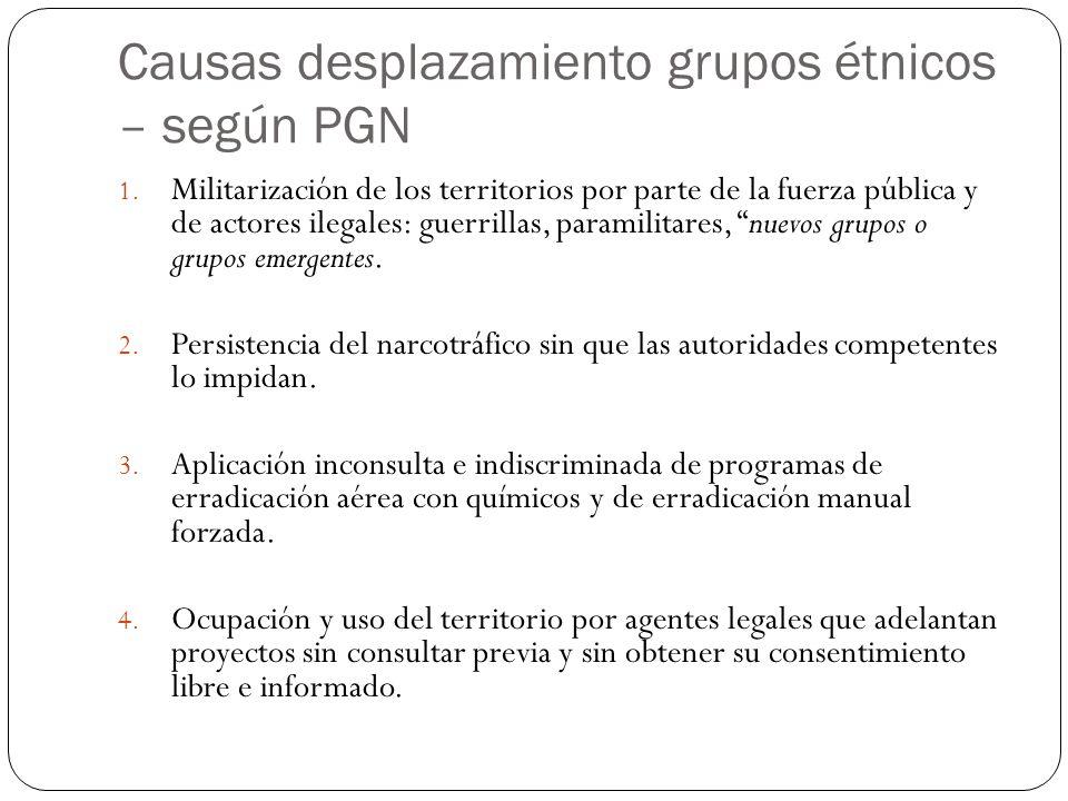 Causas desplazamiento grupos étnicos – según PGN 1.