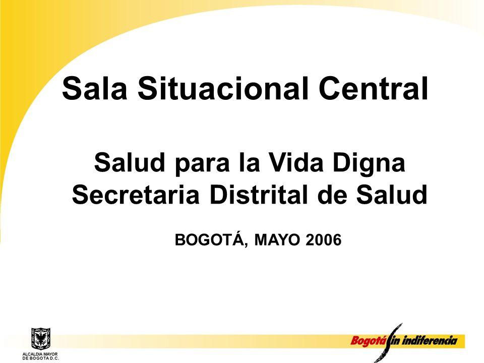Sala Situacional Central Salud para la Vida Digna Secretaria Distrital de Salud BOGOTÁ, MAYO 2006