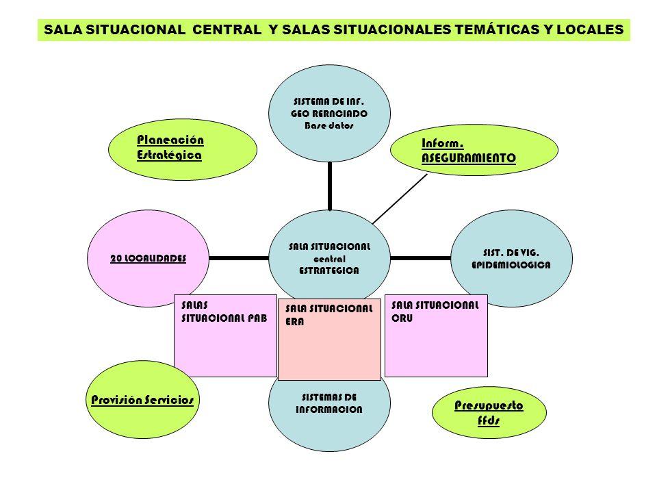Planeación Estratégica Inform. ASEGURAMIENTO SALAS SITUACIONAL PAB SALA SITUACIONAL CRU SALA SITUACIONAL ERA Provisión Servicios SALA SITUACIONAL CENT