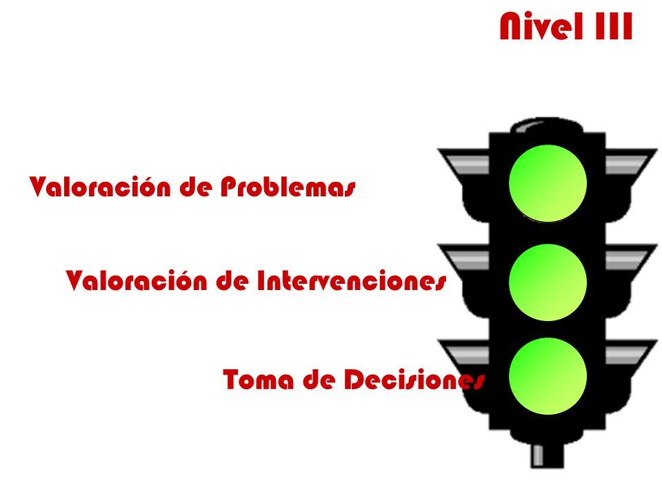 Valoración de Problemas Valoración de Intervenciones Toma de Decisiones Nivel III
