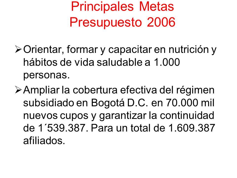 Principales Metas Presupuesto 2006 Orientar, formar y capacitar en nutrición y hábitos de vida saludable a 1.000 personas. Ampliar la cobertura efecti