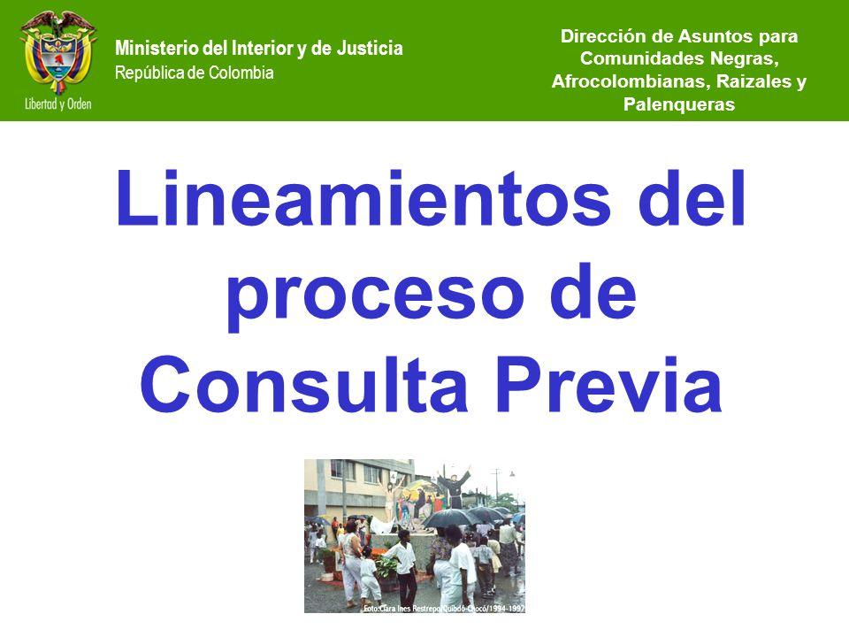 Ministerio del Interior y de Justicia República de Colombia Lineamientos del proceso de Consulta Previa Dirección de Asuntos para Comunidades Negras,