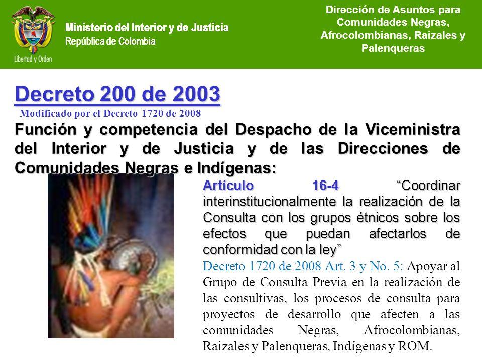 Ministerio del Interior y de Justicia República de Colombia Decreto 200 de 2003 Modificado por el Decreto 1720 de 2008 Función y competencia del Despa