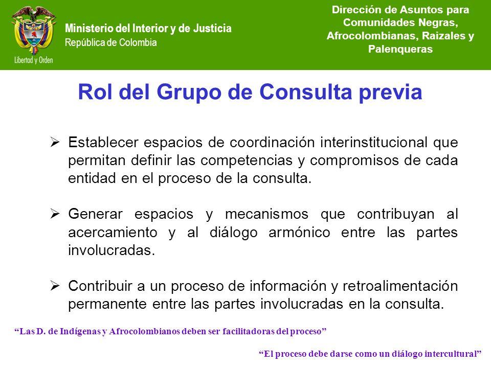 Dirección de Etnias República de Colombia Establecer espacios de coordinación interinstitucional que permitan definir las competencias y compromisos d