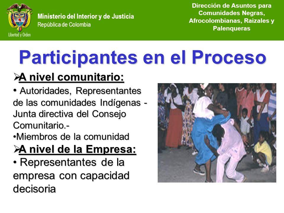 Dirección de Etnias República de Colombia Ministerio del Interior y de Justicia República de Colombia A nivel comunitario: A nivel comunitario: Autori