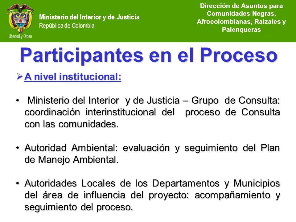 Dirección de Etnias República de Colombia Ministerio del Interior y de Justicia República de Colombia A nivel institucional: A nivel institucional: Mi