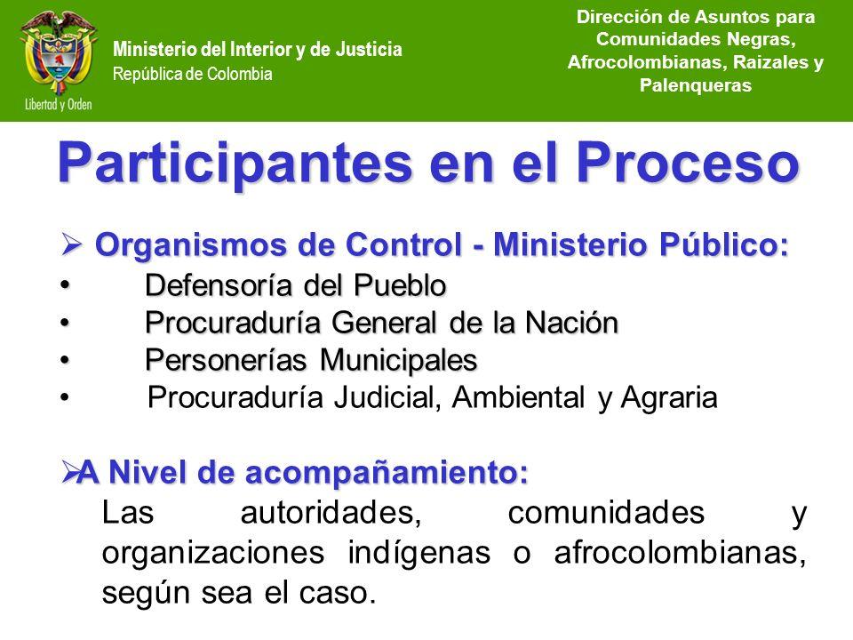 Dirección de Etnias República de Colombia Ministerio del Interior y de Justicia República de Colombia Participantes en el Proceso Organismos de Contro
