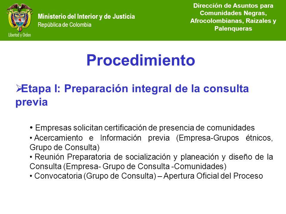 Dirección de Etnias República de Colombia Procedimiento Ministerio del Interior y de Justicia República de Colombia Etapa I: Preparación integral de l
