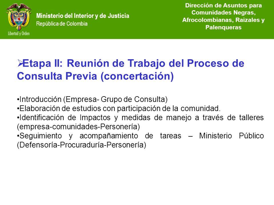 Dirección de Etnias República de Colombia Etapa II: Reunión de Trabajo del Proceso de Consulta Previa (concertación) Introducción (Empresa- Grupo de C