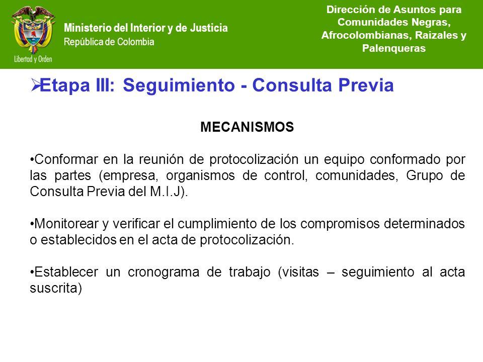Dirección de Etnias República de Colombia Etapa III: Seguimiento - Consulta Previa MECANISMOS Conformar en la reunión de protocolización un equipo con