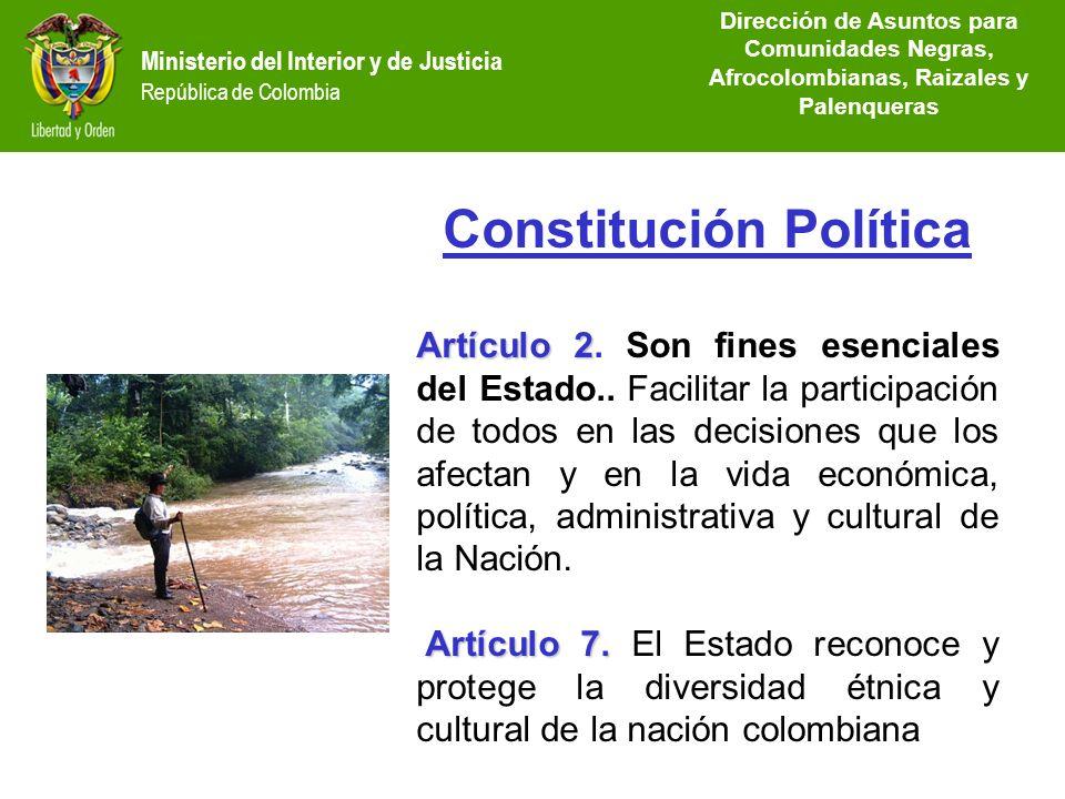 Ministerio del Interior y de Justicia República de Colombia Dirección de Etnias Dirección de Etnias República de Colombia Ministerio del Interior y de
