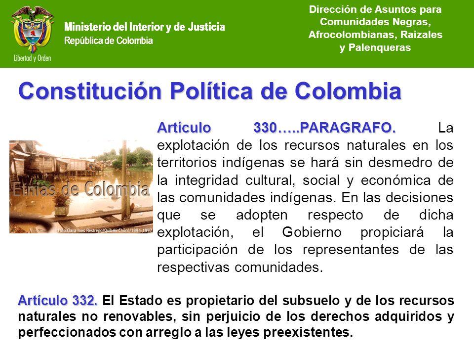 Ministerio del Interior y de Justicia República de Colombia Constitución Política de Colombia Artículo 330…..PARAGRAFO. Artículo 330…..PARAGRAFO. La e