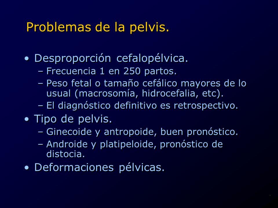 Problemas de la pelvis. Desproporción cefalopélvica. –Frecuencia 1 en 250 partos. –Peso fetal o tamaño cefálico mayores de lo usual (macrosomía, hidro