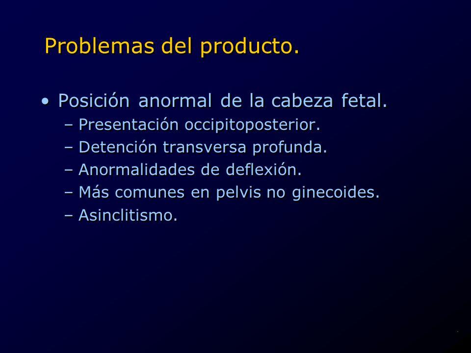 Problemas del producto. Posición anormal de la cabeza fetal. –Presentación occipitoposterior. –Detención transversa profunda. –Anormalidades de deflex