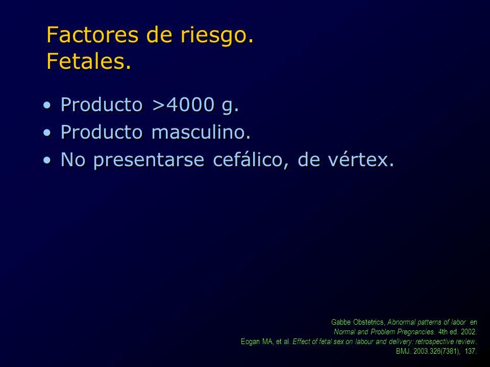 Factores de riesgo. Fetales. Producto >4000 g. Producto masculino. No presentarse cefálico, de vértex. Producto >4000 g. Producto masculino. No presen