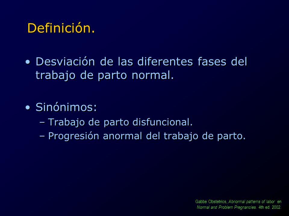 Definición. Desviación de las diferentes fases del trabajo de parto normal. Sinónimos: –Trabajo de parto disfuncional. –Progresión anormal del trabajo