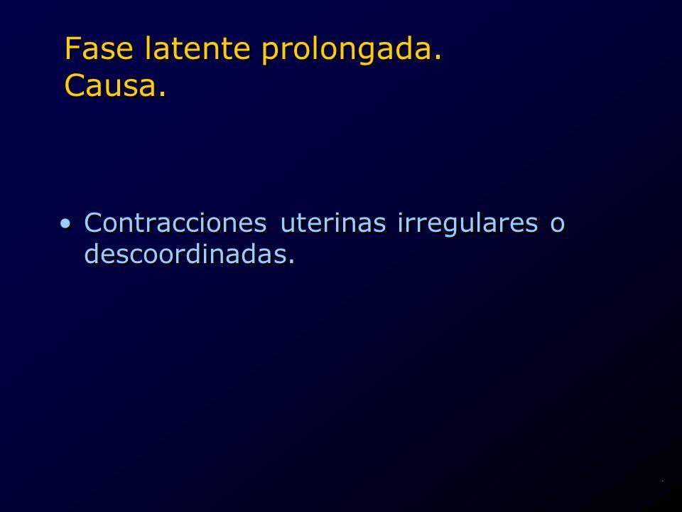 Fase latente prolongada. Causa. Contracciones uterinas irregulares o descoordinadas..