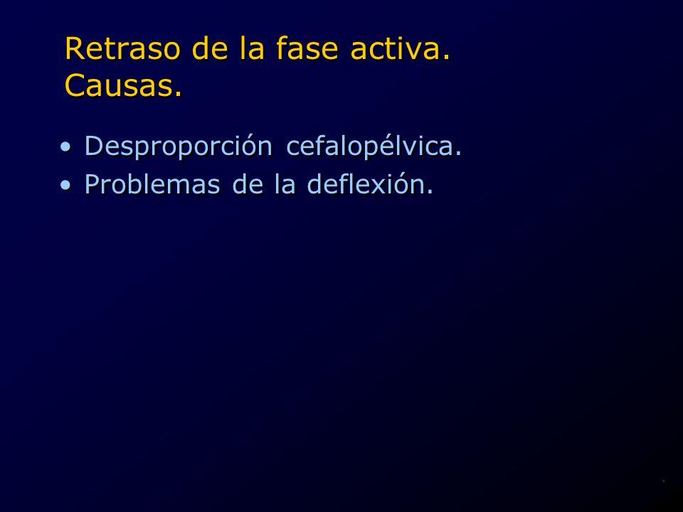 Retraso de la fase activa. Causas. Desproporción cefalopélvica. Problemas de la deflexión. Desproporción cefalopélvica. Problemas de la deflexión..