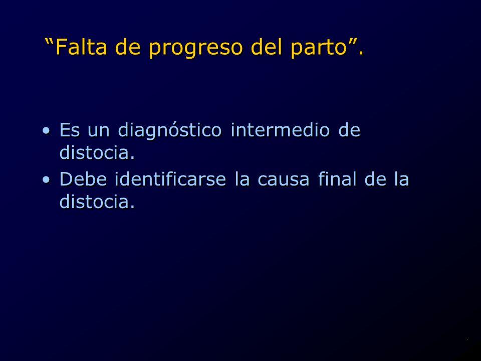 Falta de progreso del parto. Es un diagnóstico intermedio de distocia. Debe identificarse la causa final de la distocia. Es un diagnóstico intermedio