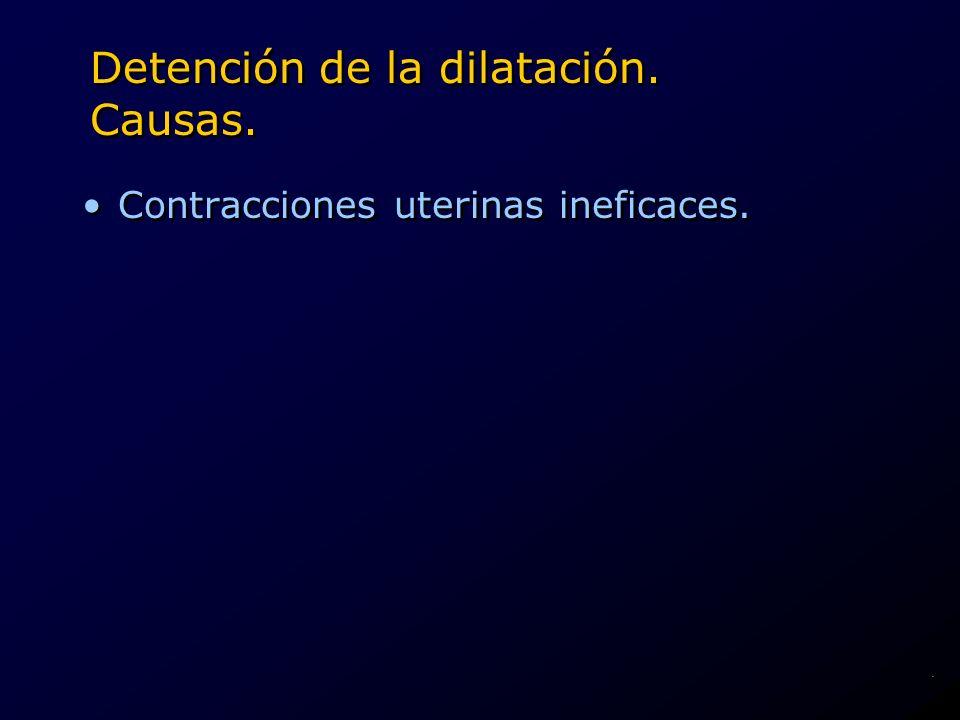 Detención de la dilatación. Causas. Contracciones uterinas ineficaces..