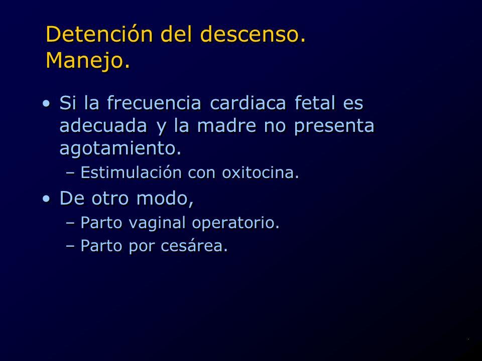 Detención del descenso. Manejo. Si la frecuencia cardiaca fetal es adecuada y la madre no presenta agotamiento. –Estimulación con oxitocina. De otro m