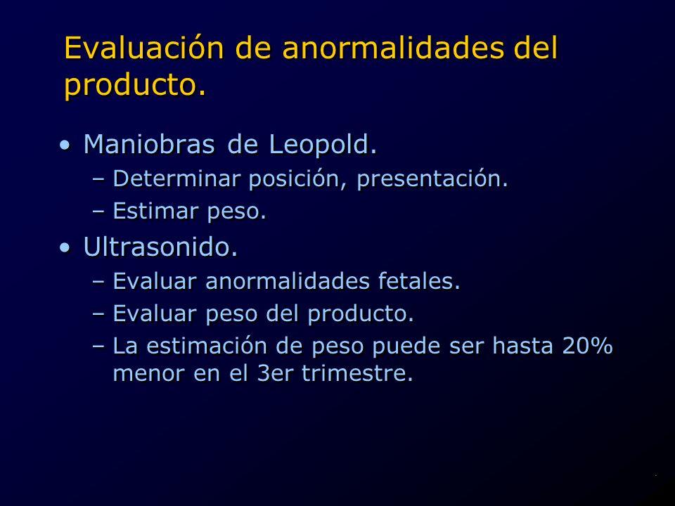 Evaluación de anormalidades del producto. Maniobras de Leopold. –Determinar posición, presentación. –Estimar peso. Ultrasonido. –Evaluar anormalidades