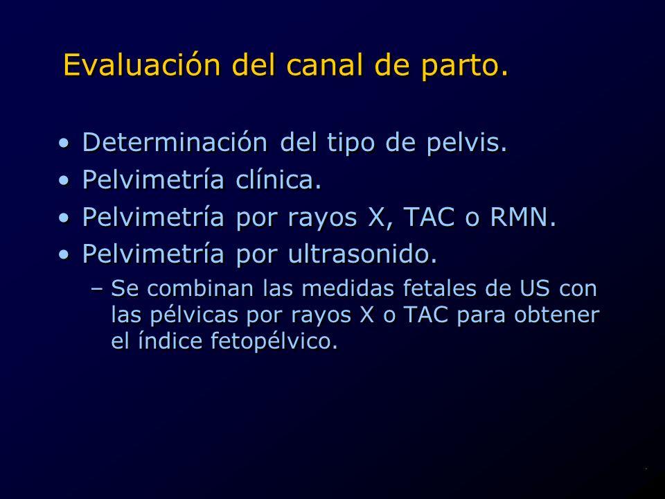 Evaluación del canal de parto. Determinación del tipo de pelvis. Pelvimetría clínica. Pelvimetría por rayos X, TAC o RMN. Pelvimetría por ultrasonido.