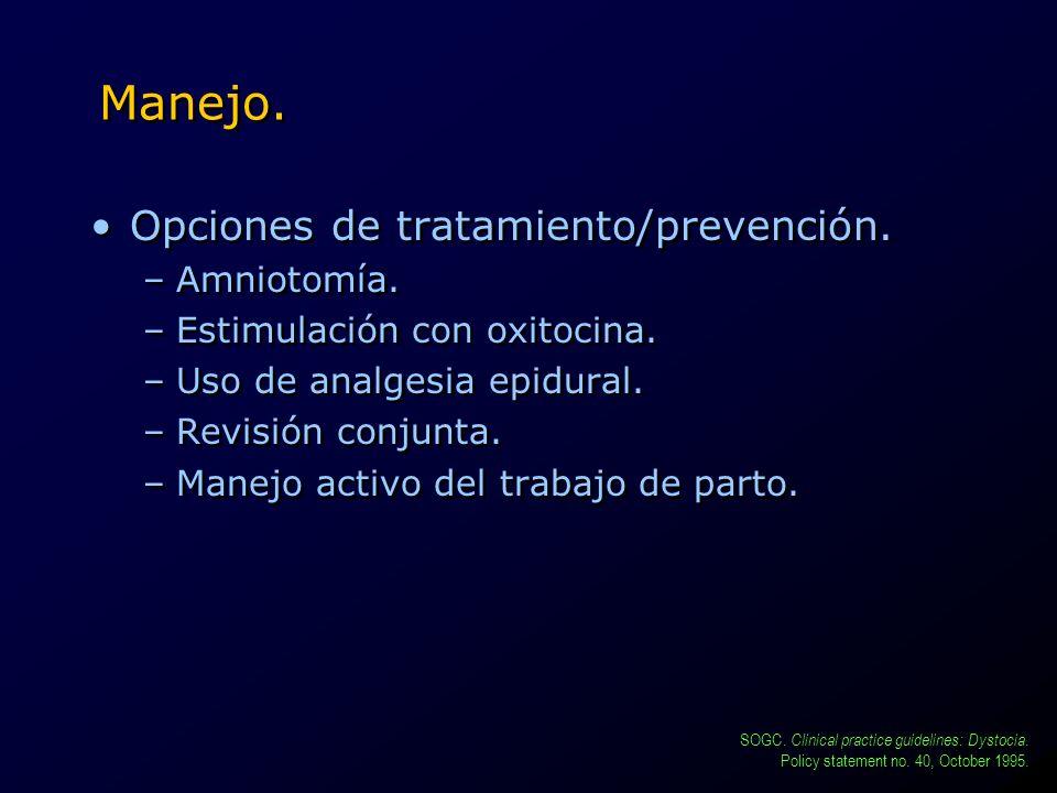 Manejo. Opciones de tratamiento/prevención. –Amniotomía. –Estimulación con oxitocina. –Uso de analgesia epidural. –Revisión conjunta. –Manejo activo d