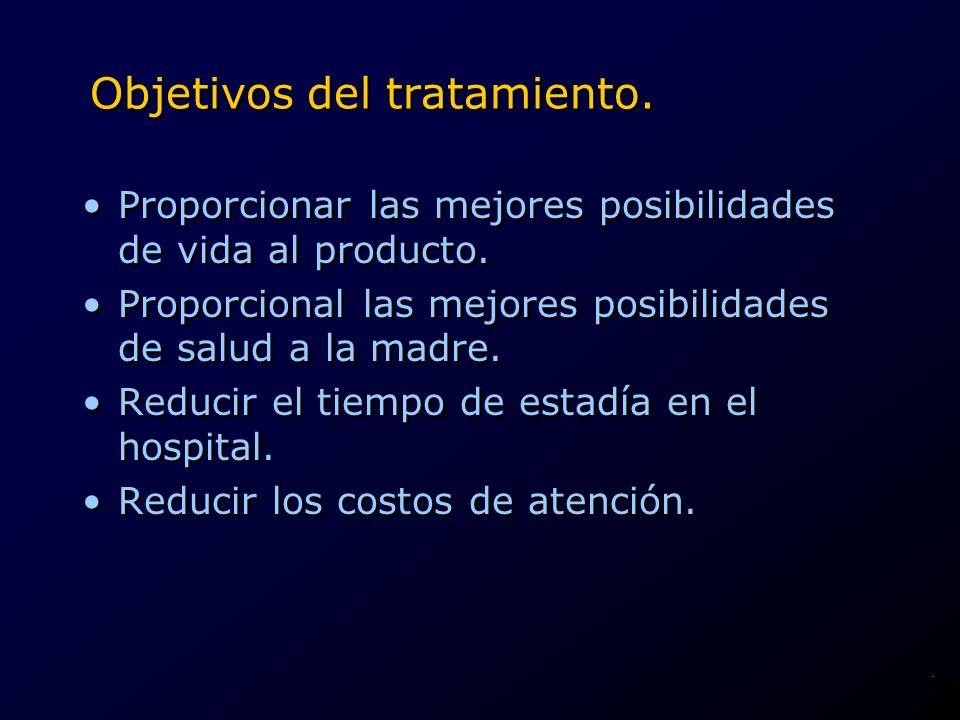 Objetivos del tratamiento. Proporcionar las mejores posibilidades de vida al producto. Proporcional las mejores posibilidades de salud a la madre. Red