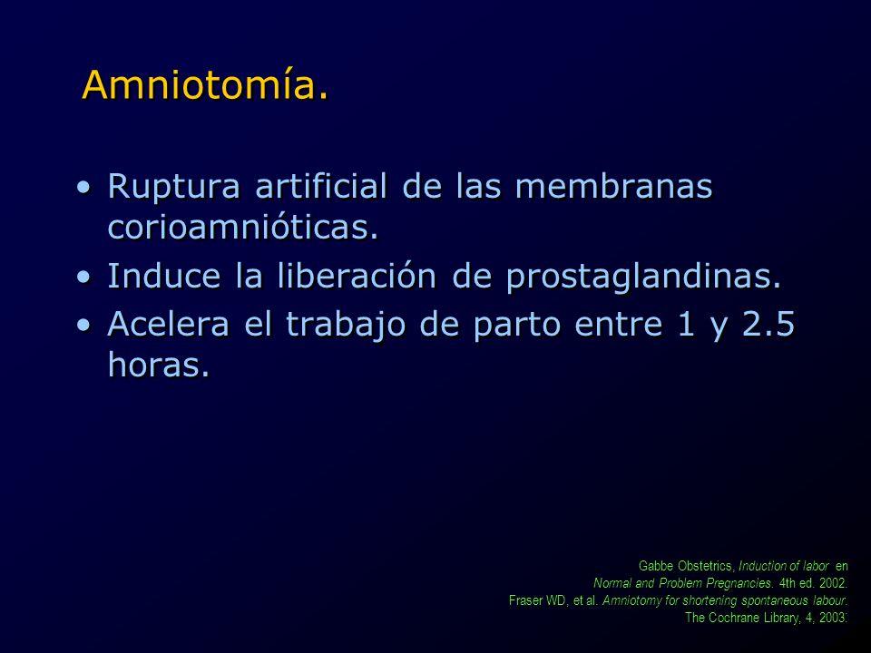 Amniotomía. Ruptura artificial de las membranas corioamnióticas. Induce la liberación de prostaglandinas. Acelera el trabajo de parto entre 1 y 2.5 ho