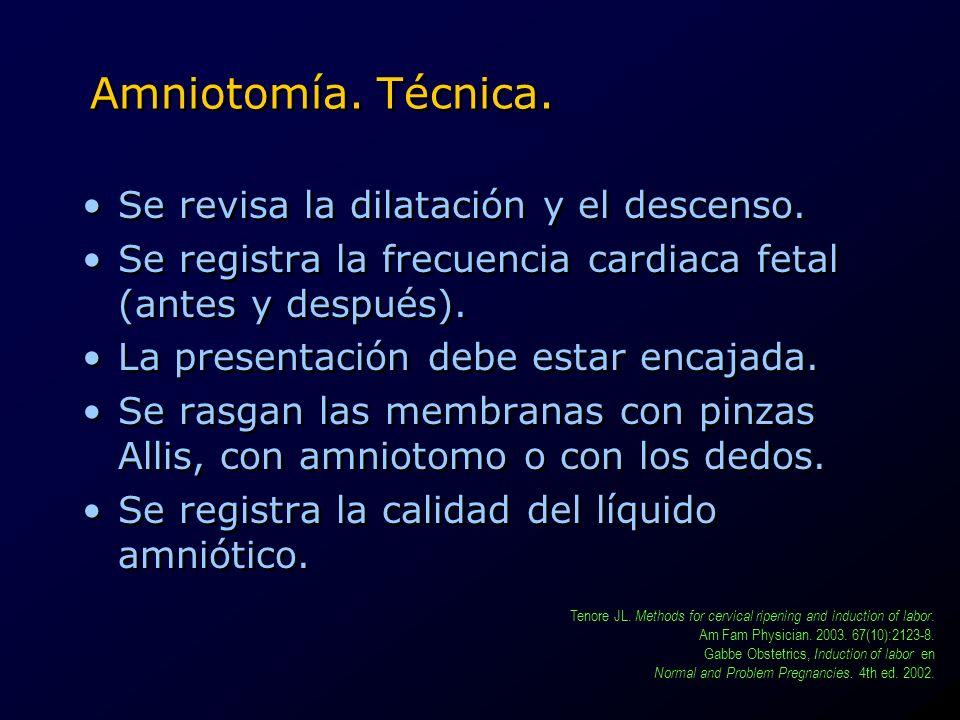 Amniotomía. Técnica. Se revisa la dilatación y el descenso. Se registra la frecuencia cardiaca fetal (antes y después). La presentación debe estar enc