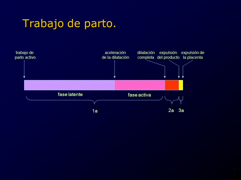 Trabajo de parto. fase latente fase activa1a 2a3a dilatación completa expulsión del producto expulsión de la placenta trabajo de parto activo acelerac