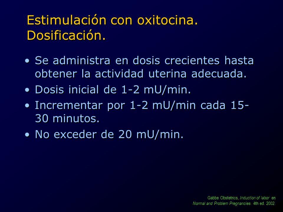 Estimulación con oxitocina. Dosificación. Se administra en dosis crecientes hasta obtener la actividad uterina adecuada. Dosis inicial de 1-2 mU/min.