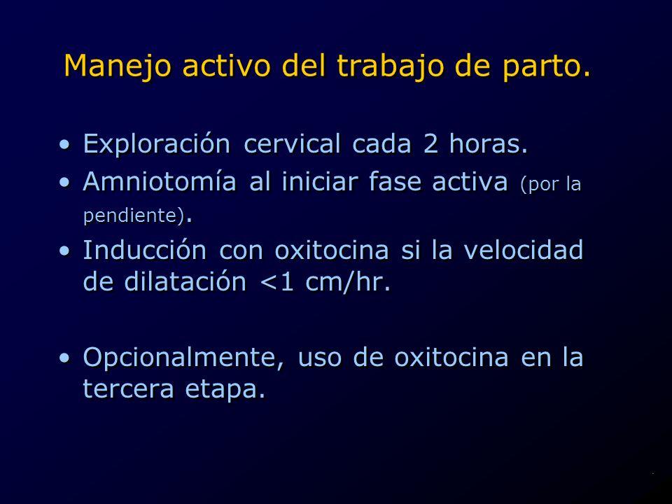 Manejo activo del trabajo de parto. Exploración cervical cada 2 horas. Amniotomía al iniciar fase activa (por la pendiente). Inducción con oxitocina s