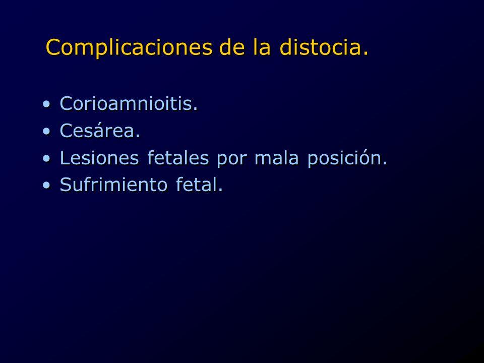 Complicaciones de la distocia. Corioamnioitis. Cesárea. Lesiones fetales por mala posición. Sufrimiento fetal. Corioamnioitis. Cesárea. Lesiones fetal