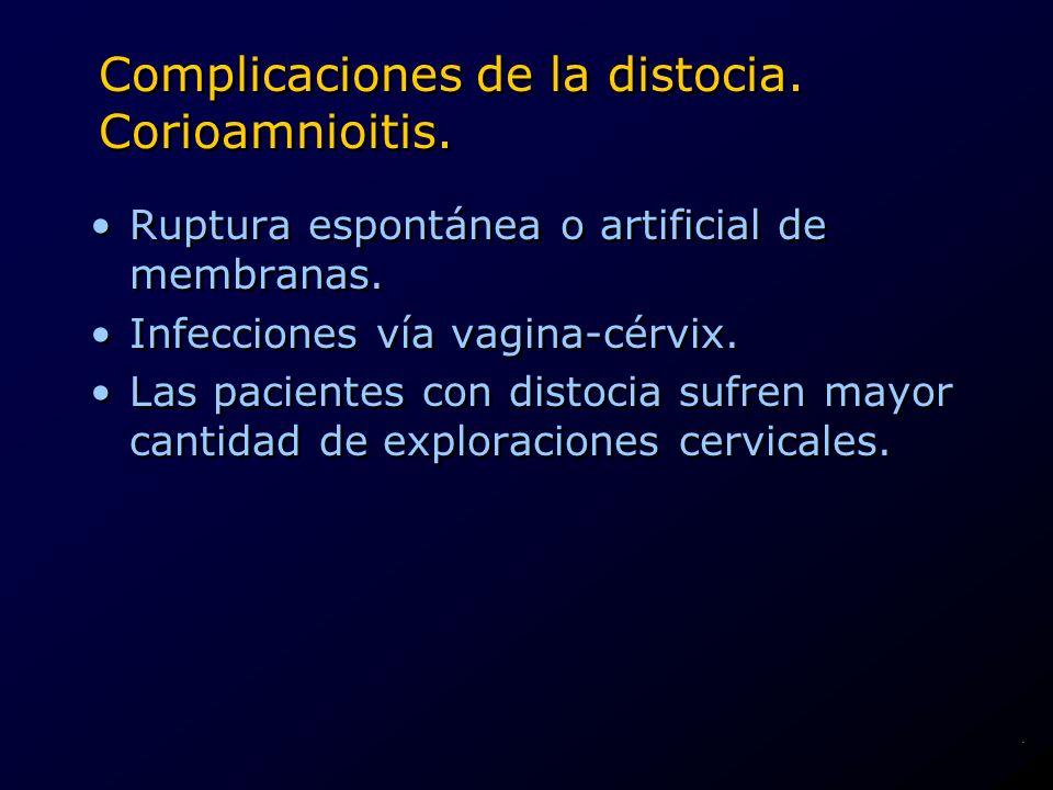 Complicaciones de la distocia. Corioamnioitis. Ruptura espontánea o artificial de membranas. Infecciones vía vagina-cérvix. Las pacientes con distocia
