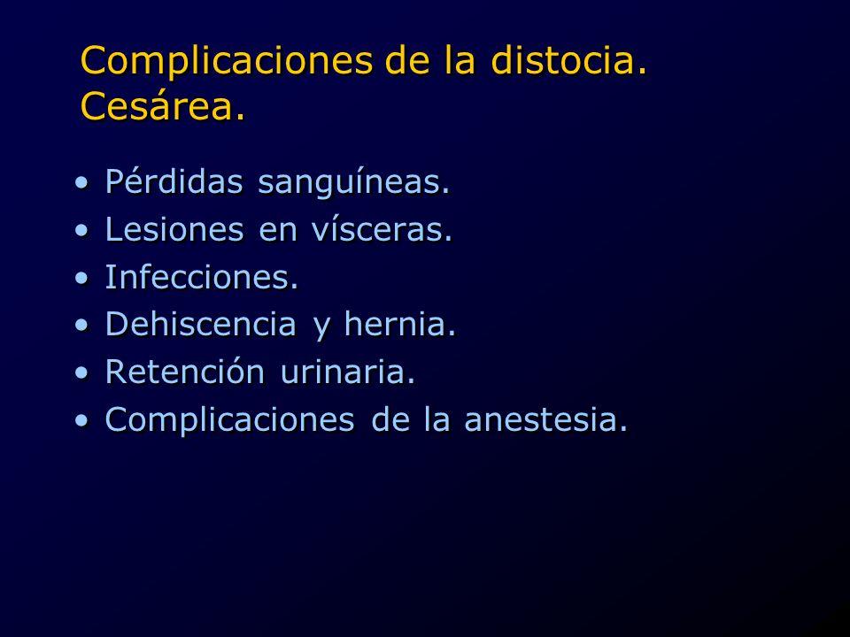 Complicaciones de la distocia. Cesárea. Pérdidas sanguíneas. Lesiones en vísceras. Infecciones. Dehiscencia y hernia. Retención urinaria. Complicacion