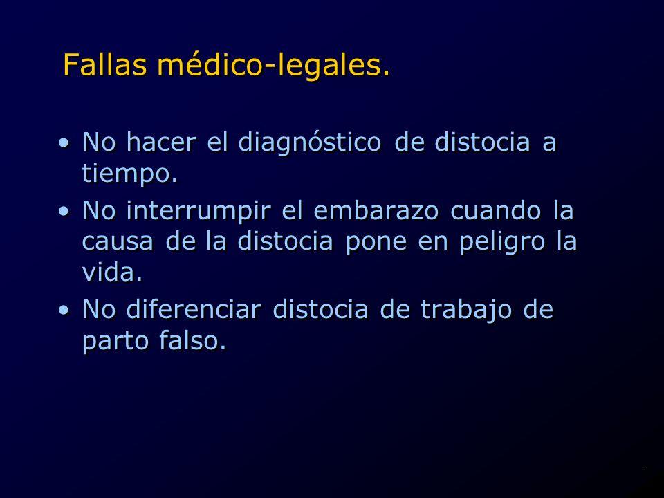 Fallas médico-legales. No hacer el diagnóstico de distocia a tiempo. No interrumpir el embarazo cuando la causa de la distocia pone en peligro la vida