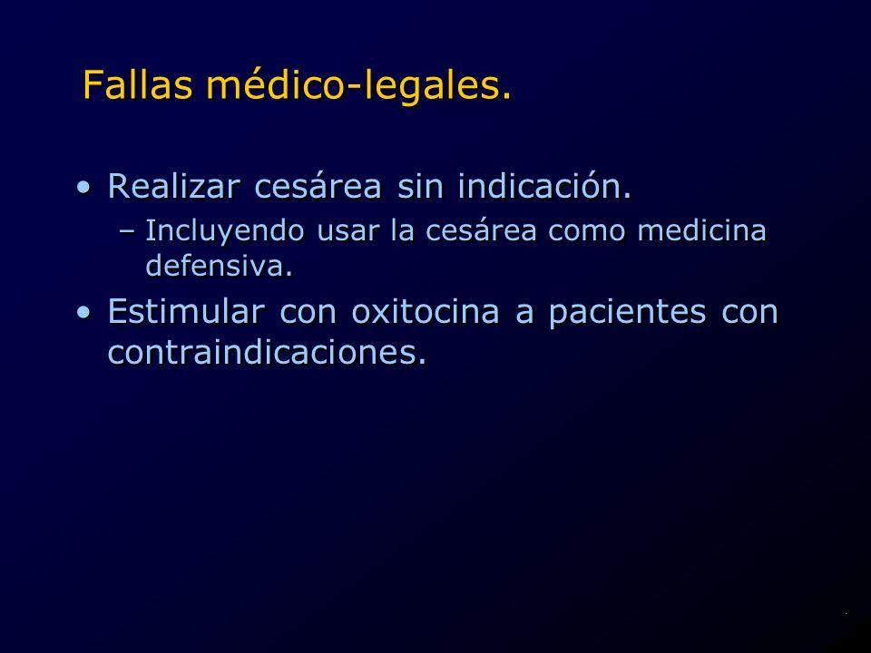 Fallas médico-legales. Realizar cesárea sin indicación. –Incluyendo usar la cesárea como medicina defensiva. Estimular con oxitocina a pacientes con c