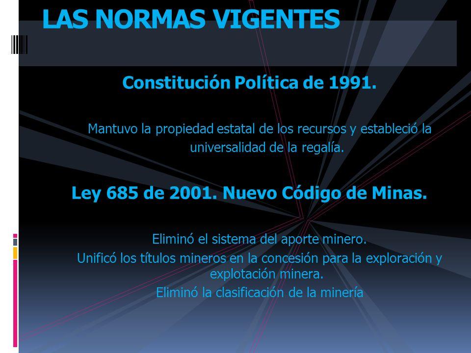 Constitución Política de 1991. Mantuvo la propiedad estatal de los recursos y estableció la universalidad de la regalía. Ley 685 de 2001. Nuevo Código