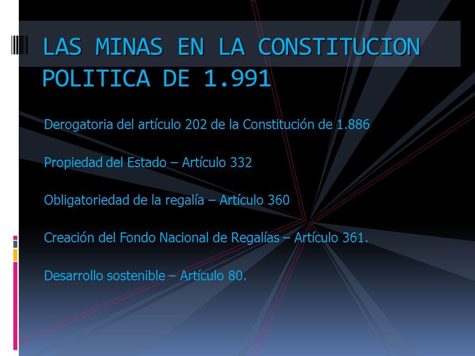 Derogatoria del artículo 202 de la Constitución de 1.886 Propiedad del Estado – Artículo 332 Obligatoriedad de la regalía – Artículo 360 Creación del Fondo Nacional de Regalías – Artículo 361.
