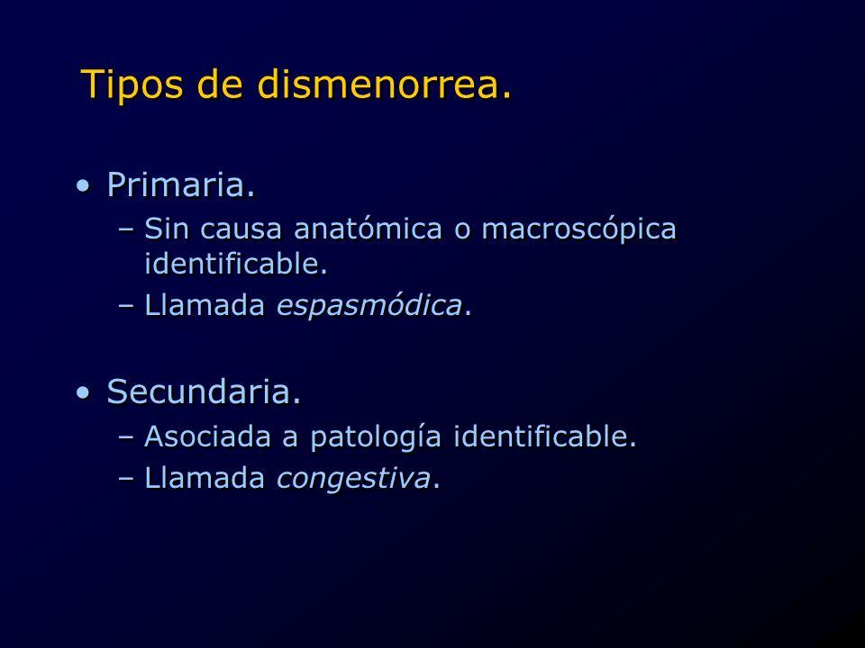 Tipos de dismenorrea. Primaria. –Sin causa anatómica o macroscópica identificable. –Llamada espasmódica. Secundaria. –Asociada a patología identificab
