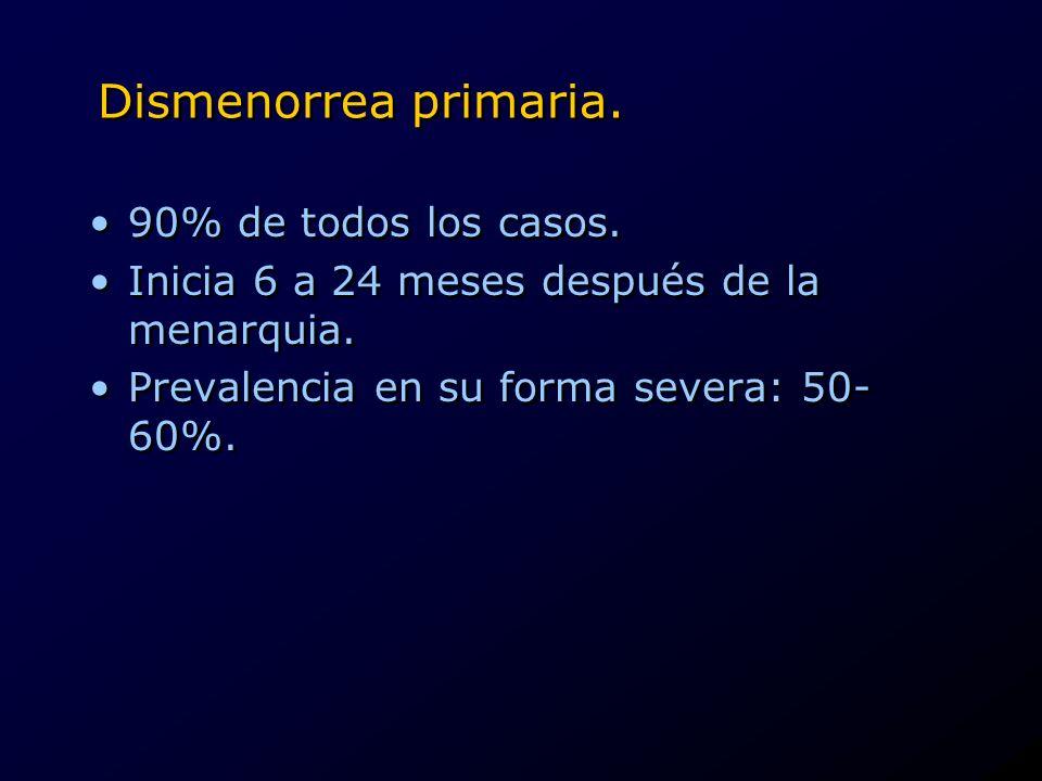 Dismenorrea primaria. 90% de todos los casos. Inicia 6 a 24 meses después de la menarquia. Prevalencia en su forma severa: 50- 60%. 90% de todos los c