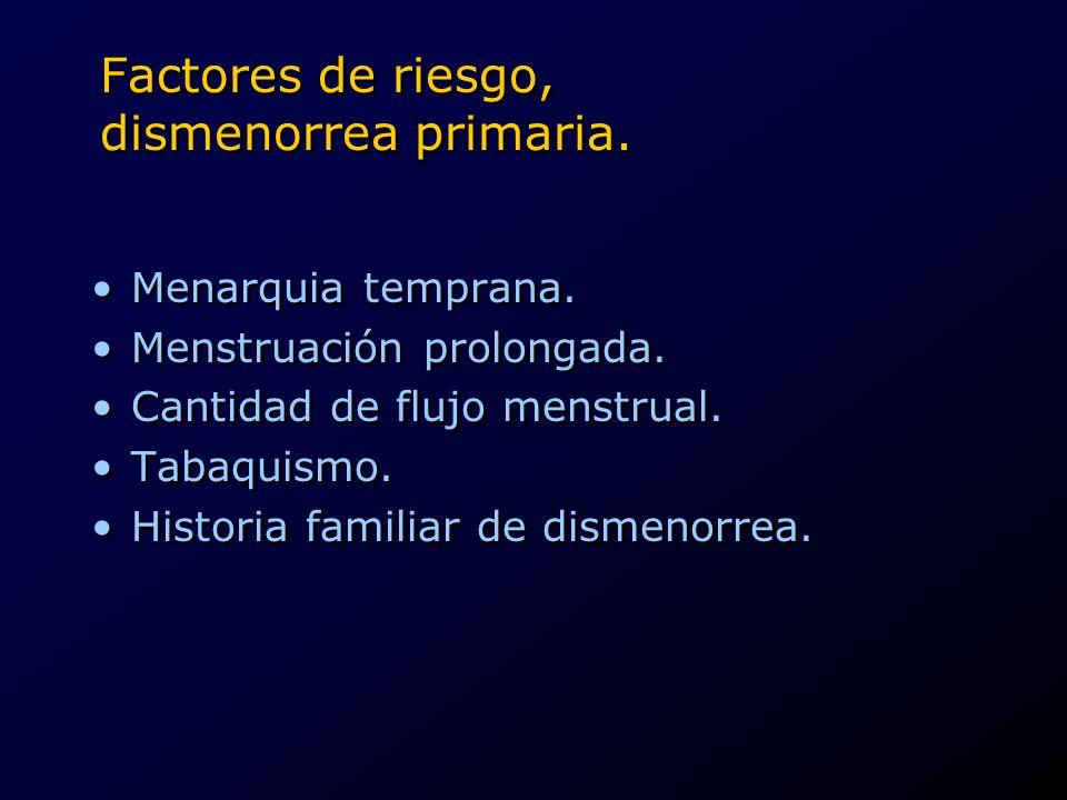 Factores de riesgo, dismenorrea primaria. Menarquia temprana. Menstruación prolongada. Cantidad de flujo menstrual. Tabaquismo. Historia familiar de d