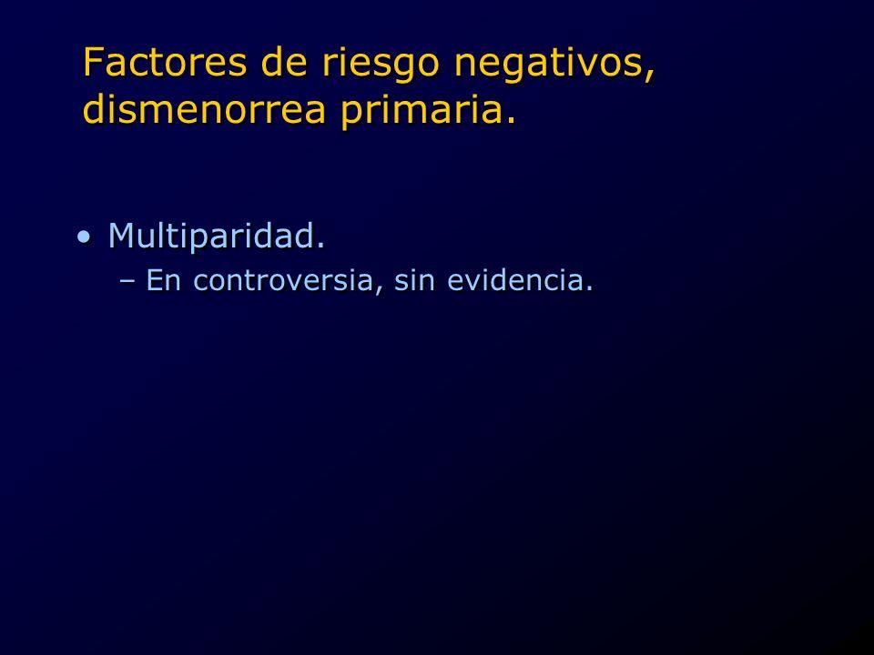 Factores de riesgo negativos, dismenorrea primaria. Multiparidad. –En controversia, sin evidencia. Multiparidad. –En controversia, sin evidencia.