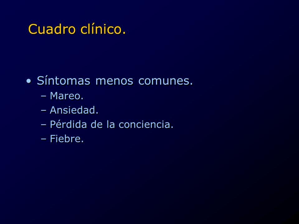 Cuadro clínico. Síntomas menos comunes. –Mareo. –Ansiedad. –Pérdida de la conciencia. –Fiebre. Síntomas menos comunes. –Mareo. –Ansiedad. –Pérdida de