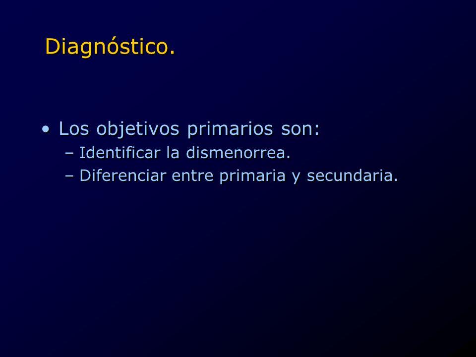 Diagnóstico. Los objetivos primarios son: –Identificar la dismenorrea. –Diferenciar entre primaria y secundaria. Los objetivos primarios son: –Identif