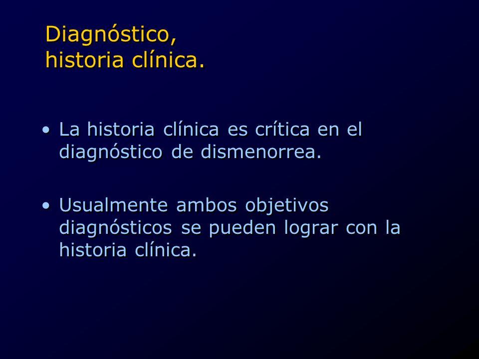 Diagnóstico, historia clínica. La historia clínica es crítica en el diagnóstico de dismenorrea. Usualmente ambos objetivos diagnósticos se pueden logr