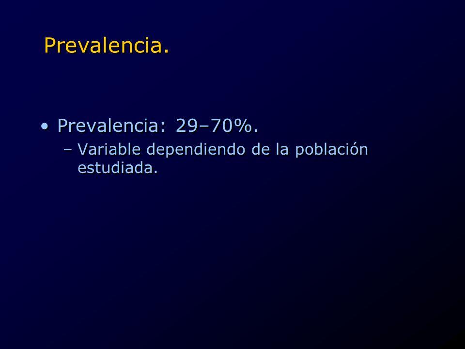 Prevalencia. Prevalencia: 29–70%. –Variable dependiendo de la población estudiada. Prevalencia: 29–70%. –Variable dependiendo de la población estudiad